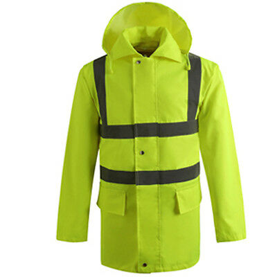 Cnss High Visibility Heavy Duty Work Safety Rain Coat Fluro Hi-Vis Rain Jacket