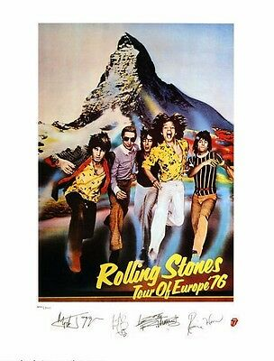 Rolling Stones 1976 European Tour Plate Signed Litho Lithograph Art Print