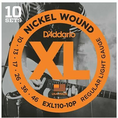 D'Addario EXL110-10P 10 Sets Nickel Wound Electric Guitar Strings, 10 - 46