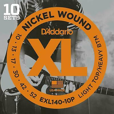 D'Addario EXL140 Nickel Wound Light Top/Heavy Bottom Electric Strings 10-Pack
