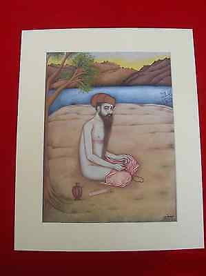 Vintage Indian Miniature Painting Of Holy Man Sadhu Chanting God Name
