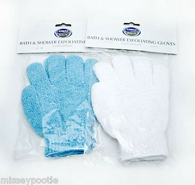 4 x Athena Exfoliating Gloves for Shower Bath Body Skin Scrub Massage (2 Pairs)