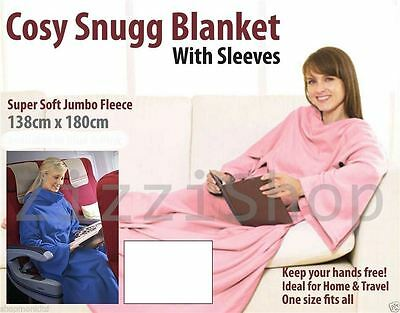 Cuddle Blanket Soft Fleece Wrap Snuggle Plush With Sleeves Cosy Winter Warm Snug
