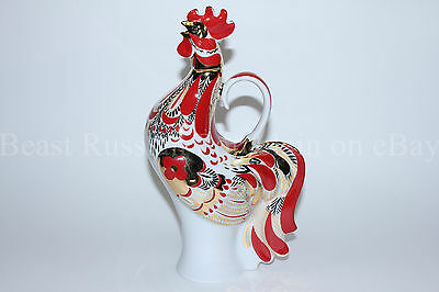 Russian Imperial Lomonosov Porcelain Decanter wine Red Rooster Russia 22k Gold