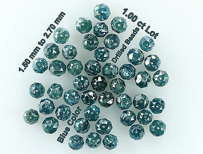 Natural Loose Diamond Round Drilled Beads Blue Color 1.00 ct Lot N488