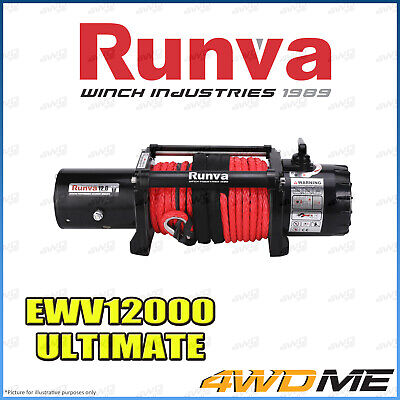 RUNVA 11XP RED 11000lbs/4990kgs 12V W/DYNEEMA ROPE Recovery Winch + Extras 4WD