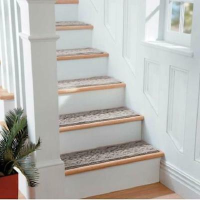 "SET OF 4 36"" SCROLL Non Slip Cotton WASHABLE INDOOR STAIR TREADS Carpet 6 COLORS"
