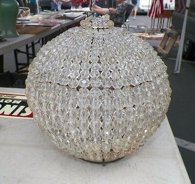 """Vintage Antique Round Beaded Dome Lamp Light Shade 8 1/2""""  Very Nice"""