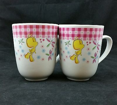 Set of 2 Vintage Tweety Bird Mugs - Looney Tunes Warner Bros