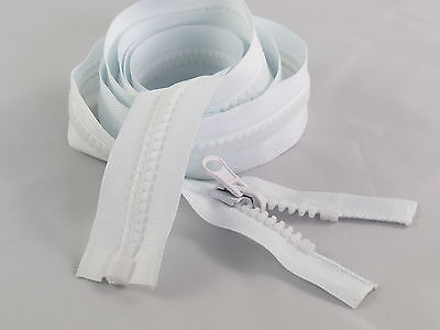 White Plastic Chunky Zips Open Ended 8 mm Teeth 170cm 67inches