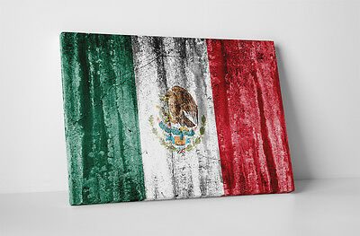 """Mexico Vintage Flag Gallery Wrapped Canvas Print. 45""""x30"""", 30""""x20 or 20""""x16"""""""