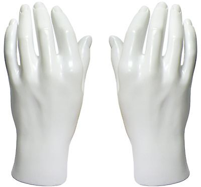 MN-HandsM PAIR OF WHITE LEFT & RIGHT Male Mannequin Hand (WHITE ONLY)