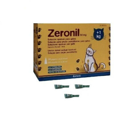 Caja 30 pipetas ZERONIL 50mg gatos +1 Kg anti pulgas y garrapatas SPOT ON
