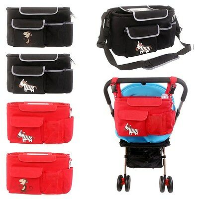 Stroller Organizer Diaper Bag Nappy Storage Bottle Holder Messenger W/ Carabiner
