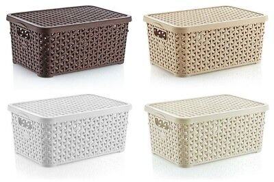 Small 10L Rattan Plastic Storage Box with Lid Mini Stackable Container Boxes