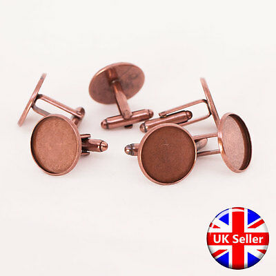 Antique Copper Cufflink Setting Blanks Fits 18mm Cabochon