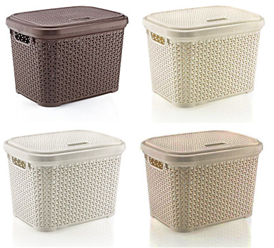 Large 20 Litre Plastic Rattan Storage Box with Lid Stackable Basket Container