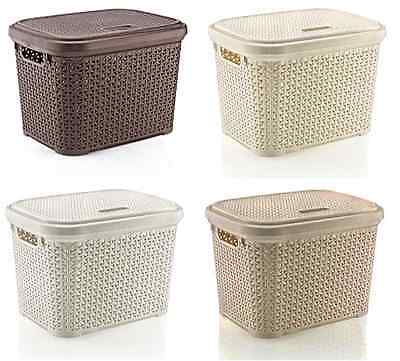 Large 30 Litre Plastic Rattan Storage Box with Lid Stackable Basket Container