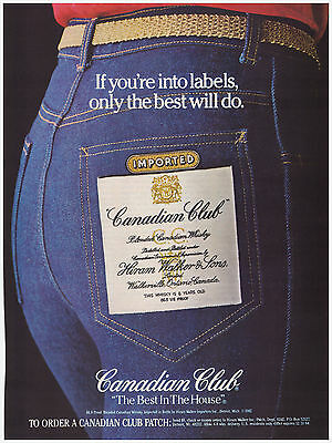 Original 1983 Canadian Club Whiskey- Club Patch, Jeans Vintage Print Ad