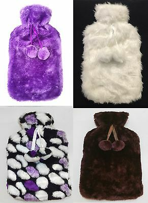 Large Hot Water Bottle Beautiful COVERS Fabulous Quality White Purple Brown