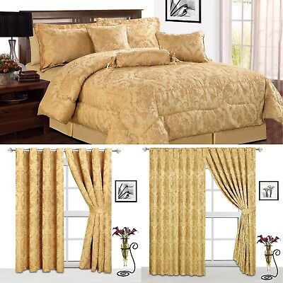 Luxury jacquard 7Pcs Piece (R.Gold) Comforter Set,Bedspread +matching Curtains