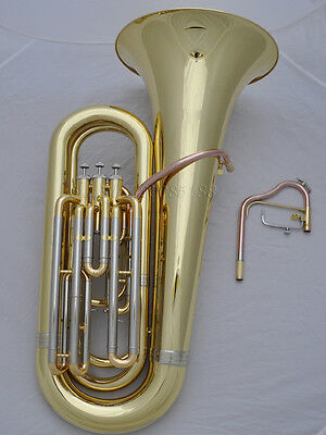 Professional Gold Bb pistonTuba Horn Monel Valves Marching leadpipe Free case