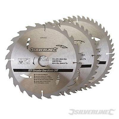 Silverline 690459 TCT Circular Saw Blades 24 40 48T 3pk 210 x 25 - 20 16mm rings