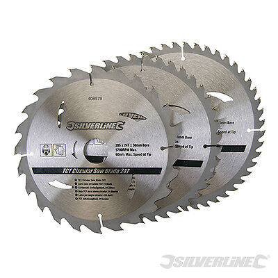 Silverline 408979 TCT Circular Saw Blades 24 40 48T 3pk 205x30, 25 18 16mm rings