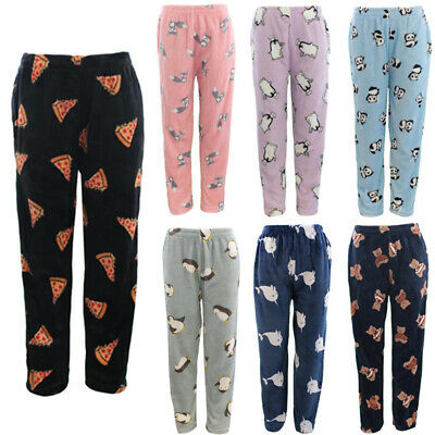 Women's Soft Plush Lounge Sleep Pyjama Pajama Pants Fleece Winter Sleepwear