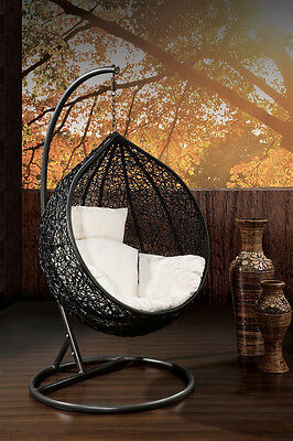 Outdoor Hanging Egg/ Pod Chair - Black Basket with Beige Cushions - Most Popular