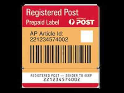 10x Australia Post Registered Post Prepaid Label Labels - Tracking Signature