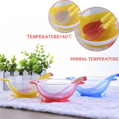 New Baby Kids Feeding Bowl With Suction Cup Temperature Sensing Spoon/Fork Sets