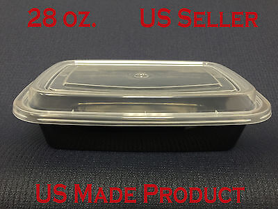 Deli Food Containers Rectangular Plastic 28 oz. (with Lids) 150 Sets