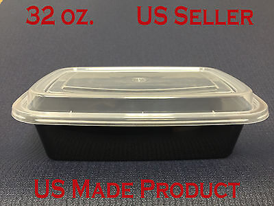 Deli Food Containers Rectangular Plastic 32 oz. (with Lids) 150 Sets