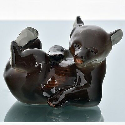 Russian Imperial Lomonosov porcelain Figurine / Sculpture Brown Bear Cub Russia