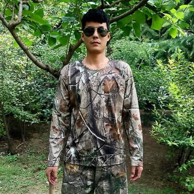 Bionic Camouflage Hunting Clothes Mens T-shirts Breathable Mesh Long-Sleeved