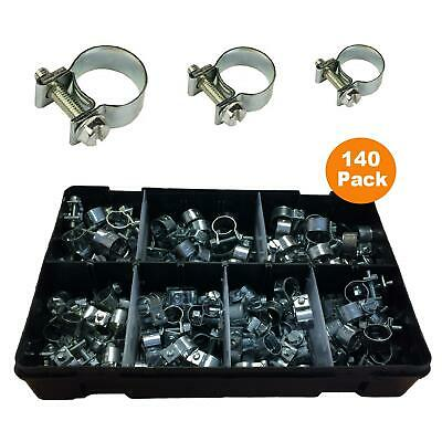 140 x Assorted Mini Fuel Line Jubilee Hose Clips Clamps Diesel Petrol Pipe