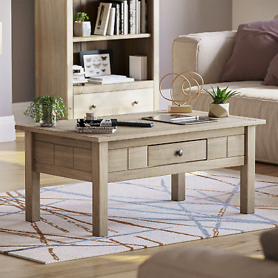 PANAMA COFFEE TABLE 1 Drawer Solid Waxed Pine Rustic Living Room Furniture