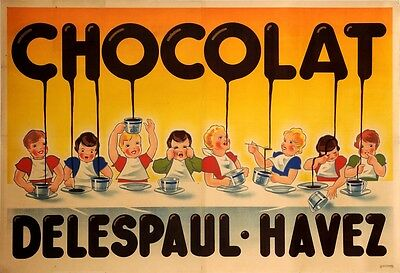 POSTER CHOCOLATE DELESPAUL HAVEZ SPORT BOY ON PODIUM VINTAGE REPRO FREE S//H