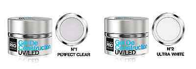 2 GELS CONSTRUCTION UV LED PRO 30ml ONGLES MANUCURE INSTITUT BEAUTE ESTHETIQUE