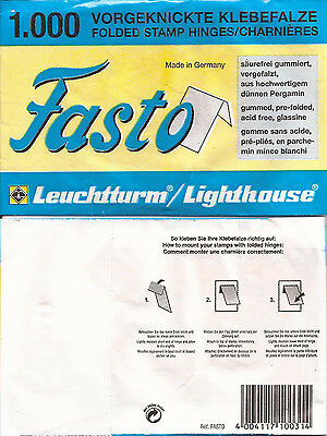 +Lighthouse brand Fasto folded stamp hinges -1000 per package-new- Free Ship
