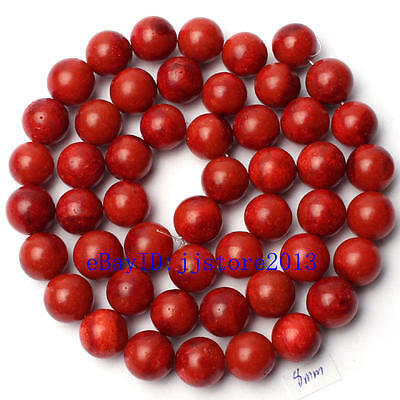 """8mm Pretty Natural Sponge Red Coral Round Shape Gemstone Loose Beads Strand 15"""""""
