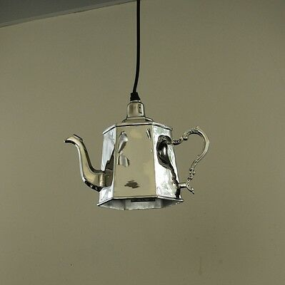 Hanging silver metal hexagonal teapot light fitting vintage chic home lighting