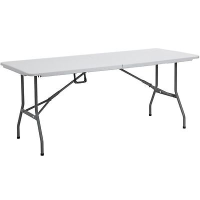 FOLDING TABLE 6ft White Steel Portable Camping Picnic Trestle Outdoor Indoor