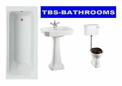 Burlington Victorian Traditional Bathroom Suite, Bath, Basin, Low Level Toilet