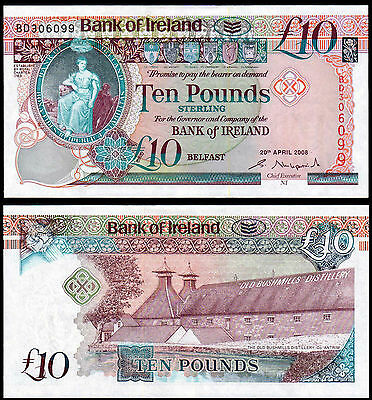 NORTHERN IRELAND 10 POUNDS KIRKPATRICK (P85a) BANK OF IRELAND 2008 UNC