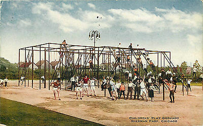 Chicago Il Sherman Park Childrens' Play Grounds 1916 P/c