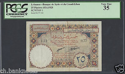 Lebanon 25 Piasters 15-4-1925 P1 Issued note Very Fine