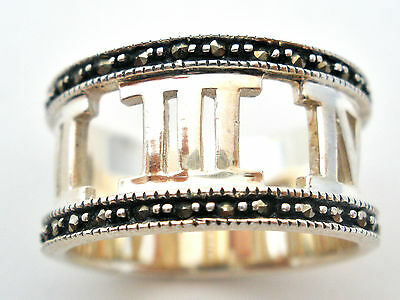 Sterling Silver Roman Numeral Ring with Marcasites Wide Band Size 6.5 Jewelry