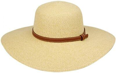 7cd2b67a747b6 Women s Natural Straw Paper Hat Leather Belt SPF50 Beach Adjustable Packable